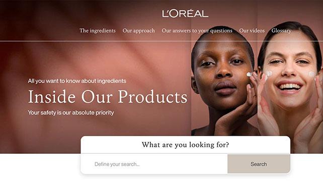 L'Oréal Product Website